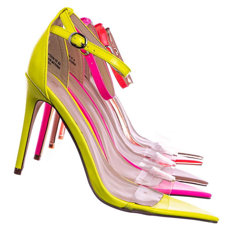 Exception10 Lucite Neon Stiletto Sandal - Women Clear High Heel Pointed Toe Shoe