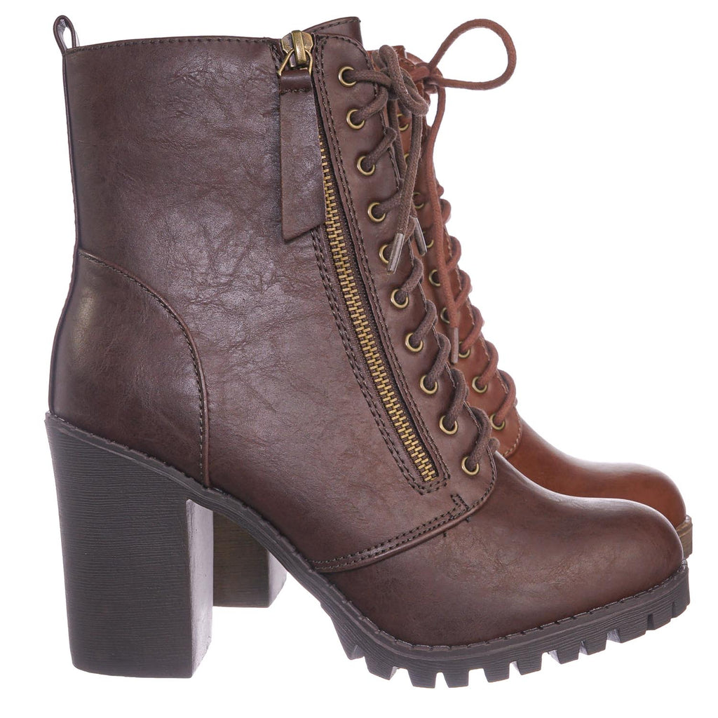 Malia BrownPu Military Lace Up Combat Ankle Boot On Chunky Block Heel Lug Sole Bootie