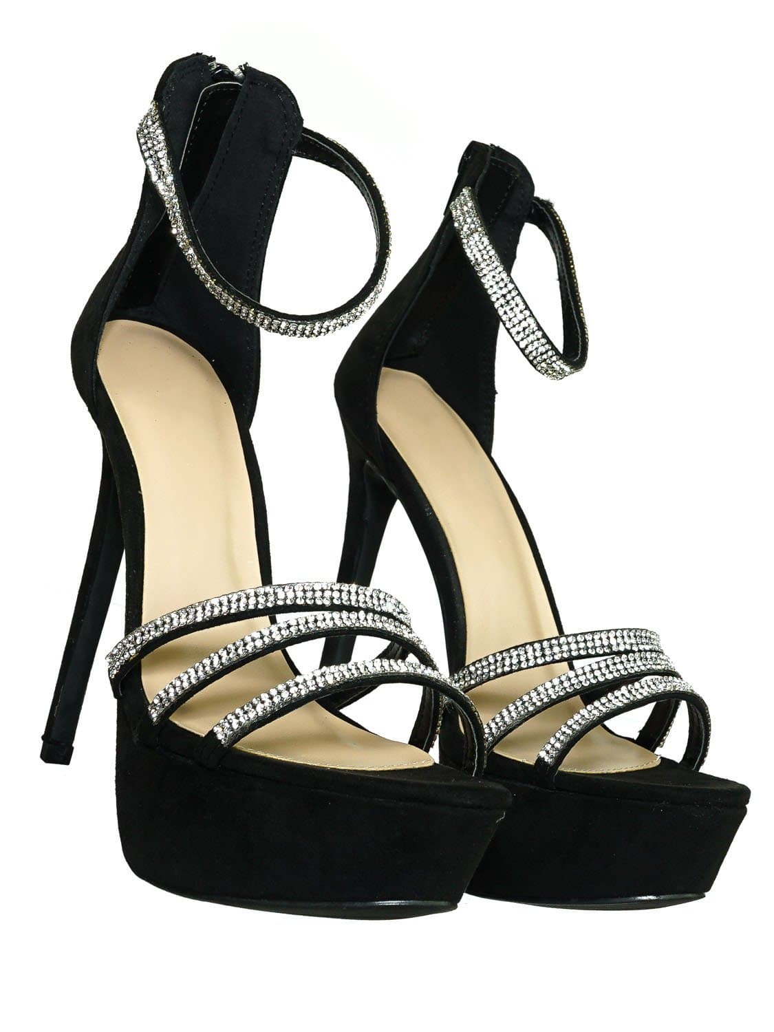 Malia01 BlkSu Rhinestone High Heel Platform Dress Sandals - Women Ankle Strap Heels