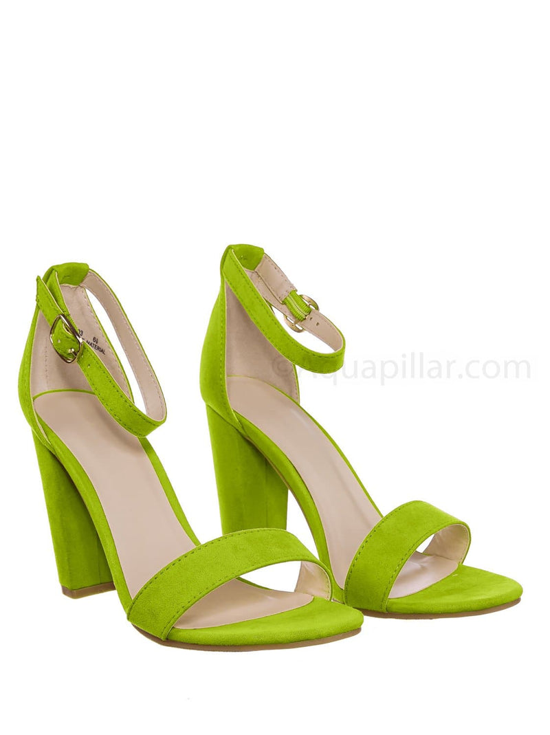 Neon Green / Mania03 Chunky Block High Heel Sandal - Open Toe Retro Ankle Strap Dress Shoes