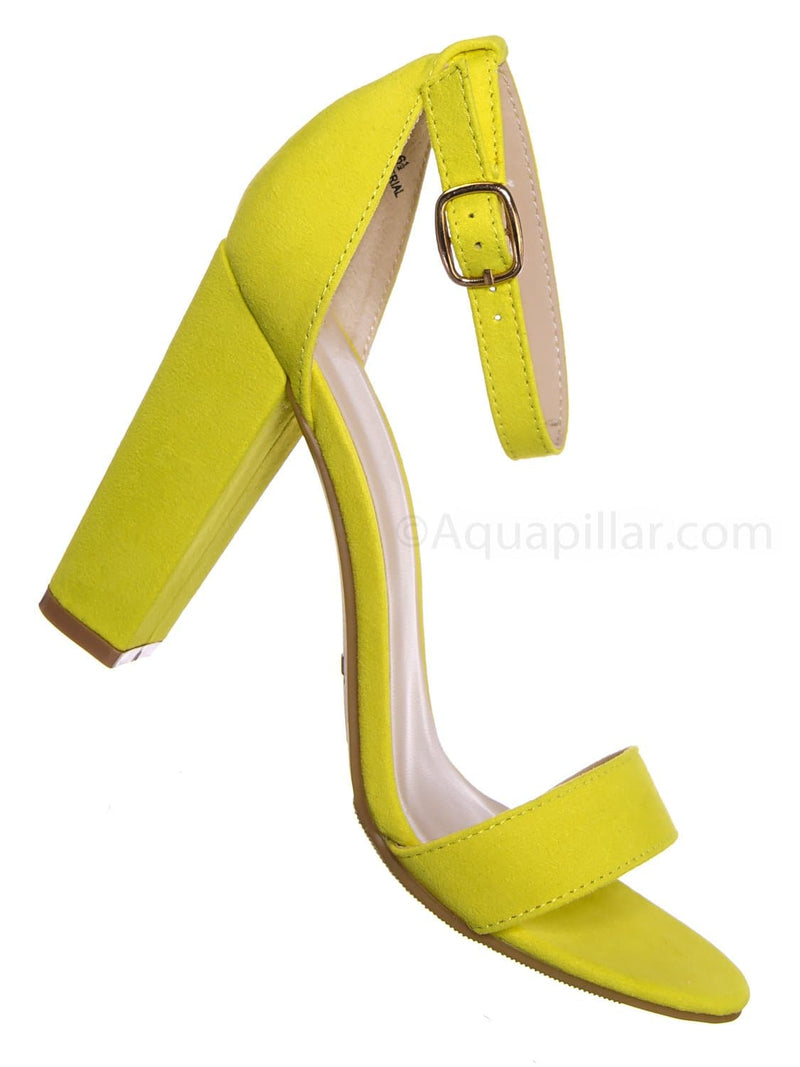 Neon Yellow / Mania03 Chunky Block High Heel Sandal - Open Toe Retro Ankle Strap Dress Shoes