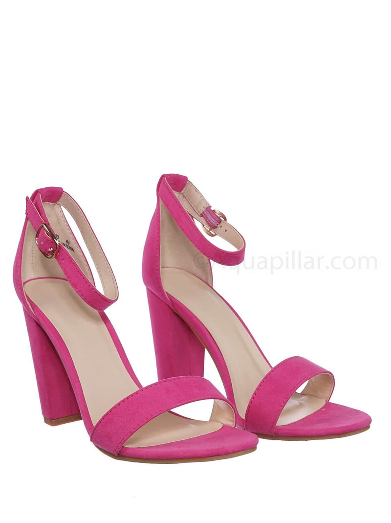 Neon Pink / Mania03 Chunky Block High Heel Sandal - Open Toe Retro Ankle Strap Dress Shoes
