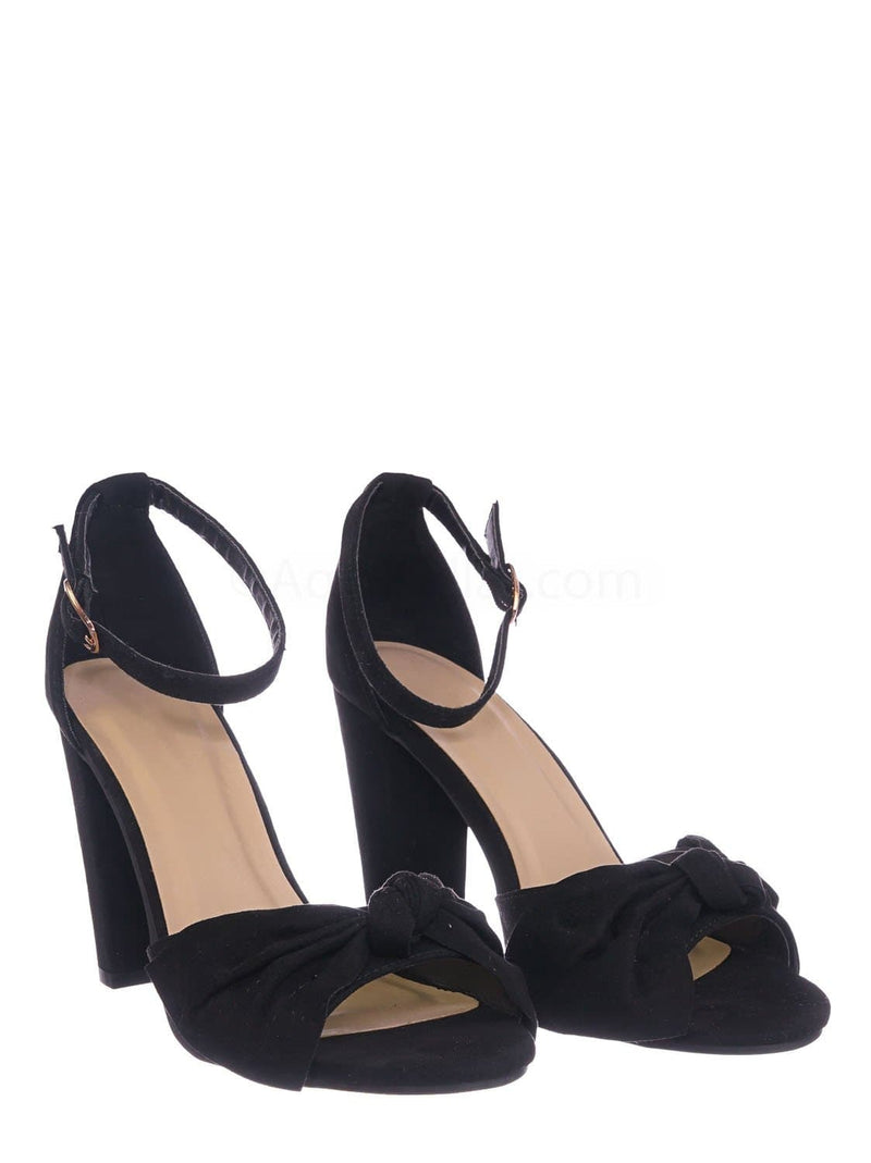 Black Pu / Mania18 BlkFS Chunky Block Heel Dress Sandal - Women Bow Adjustable Ankle Strap Shoes
