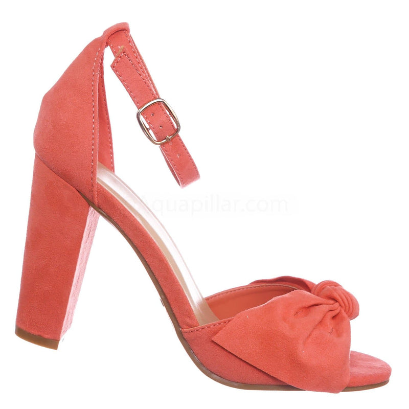 Coral Pink / Mania18 Corfs Chunky Block Heel Dress Sandal - Women Bow Adjustable Ankle Strap Shoes