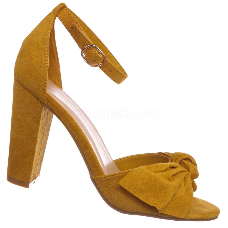 Marigold Yellow / Mania18 MGDFS Chunky Block Heel Dress Sandal - Women Bow Adjustable Ankle Strap Shoes