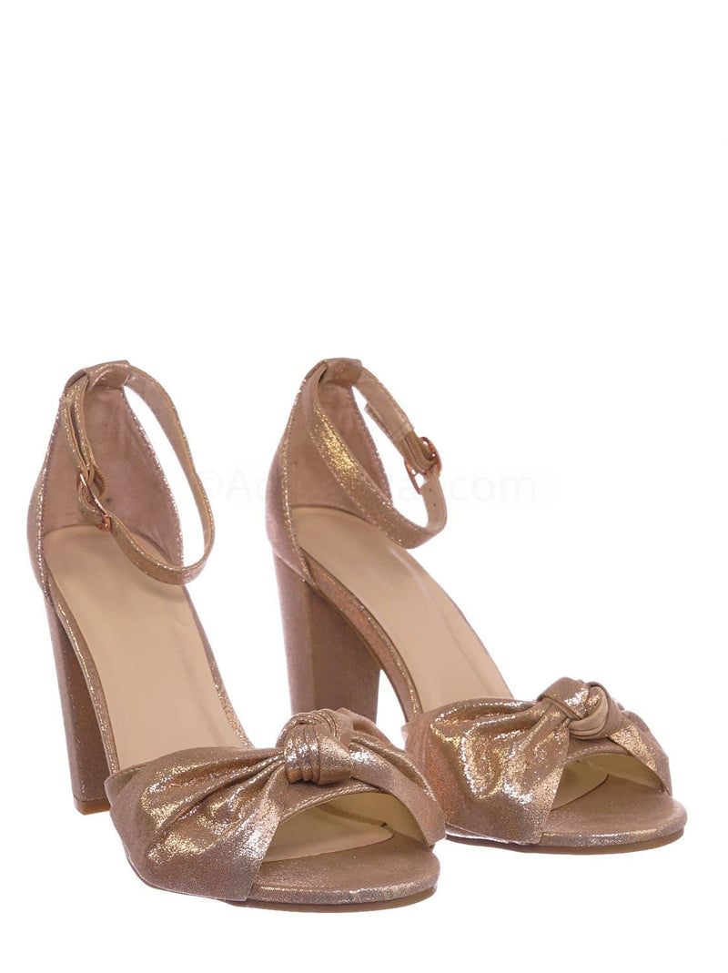 Rose Gold Fabric / Mania18 RGDfab Chunky Block Heel Dress Sandal - Women Bow Adjustable Ankle Strap Shoes