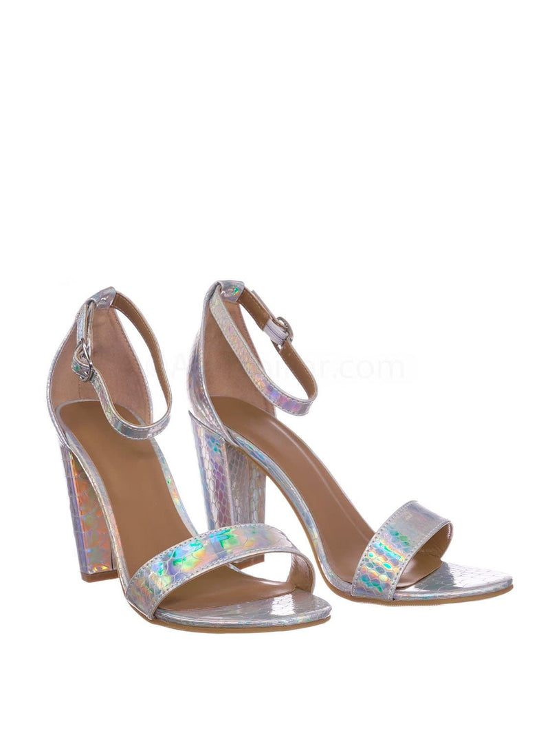 Silver Iridescent Snake / Mania22 Retro Chunky Block High Heel Sandal, Women Open Toe Ankle Strap Shoes