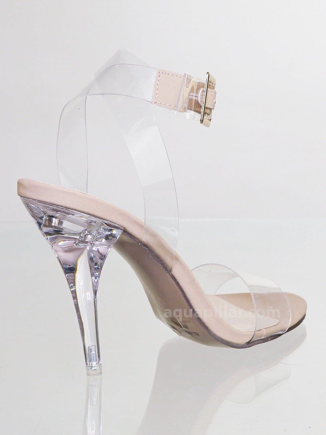May2 ClrNudNb Clear Lucite Ankle Strap Sandal - Women Transparent Acrylic High Heel
