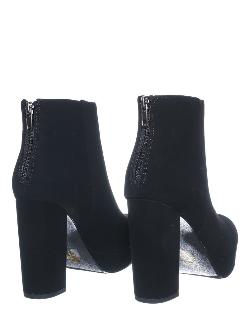 Black Nubuck / Meeting Chunky Block Heel Platform Dress Bootie - Women Round Toe Dress Shoe