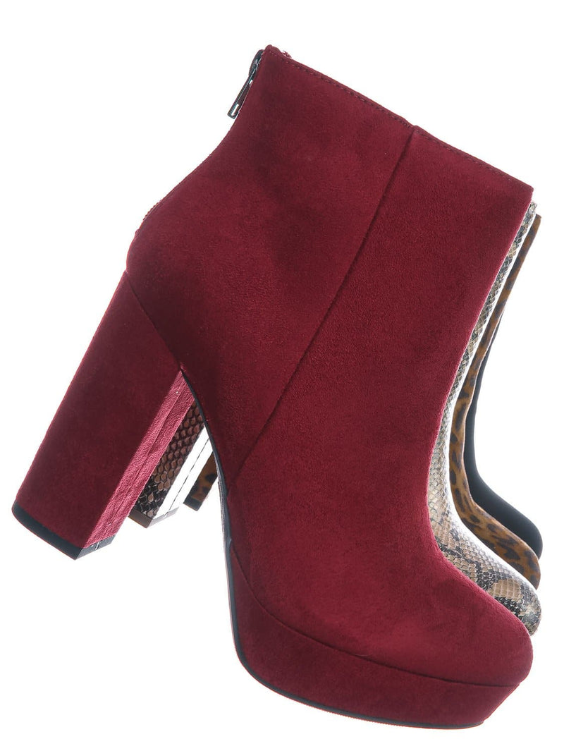 Cherry Red / Meeting Chunky Block Heel Platform Dress Bootie - Women Round Toe Dress Shoe