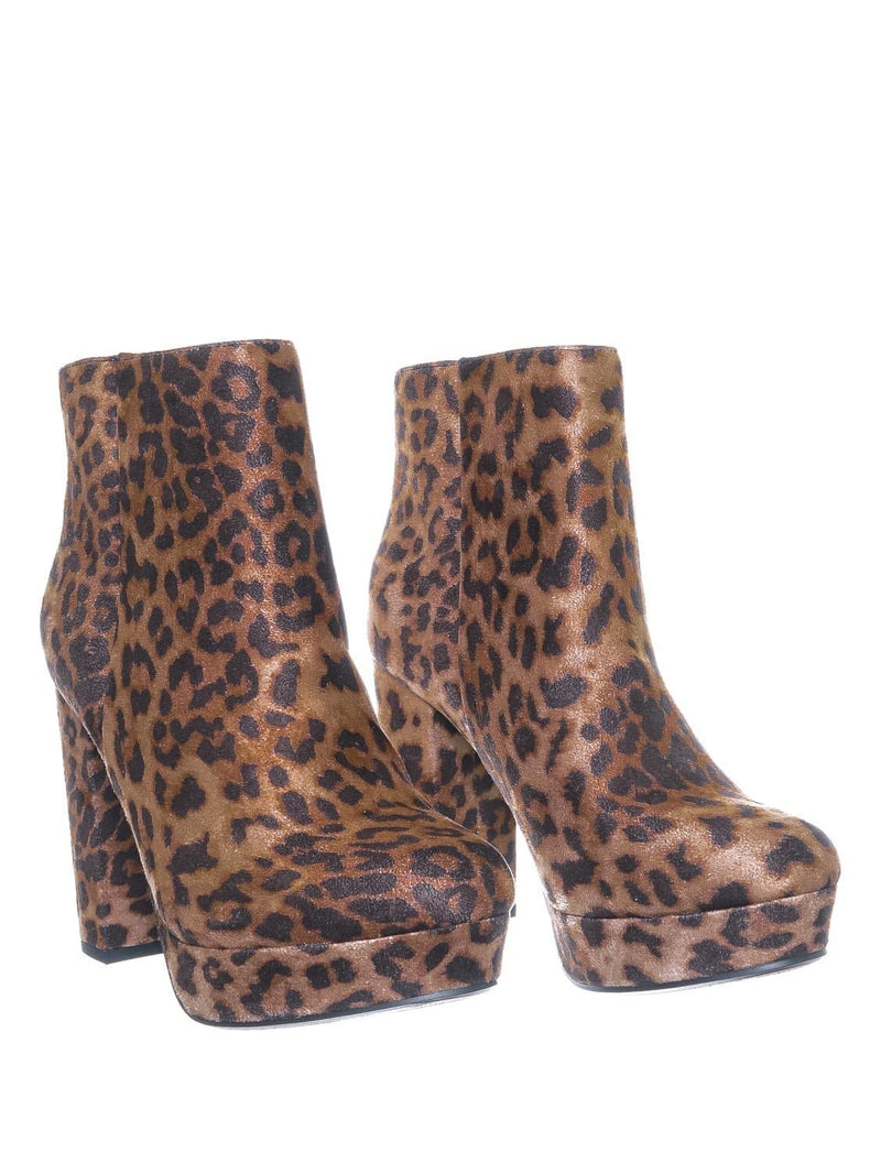 Camel Leopard / Meeting Chunky Block Heel Platform Dress Bootie - Women Round Toe Dress Shoe