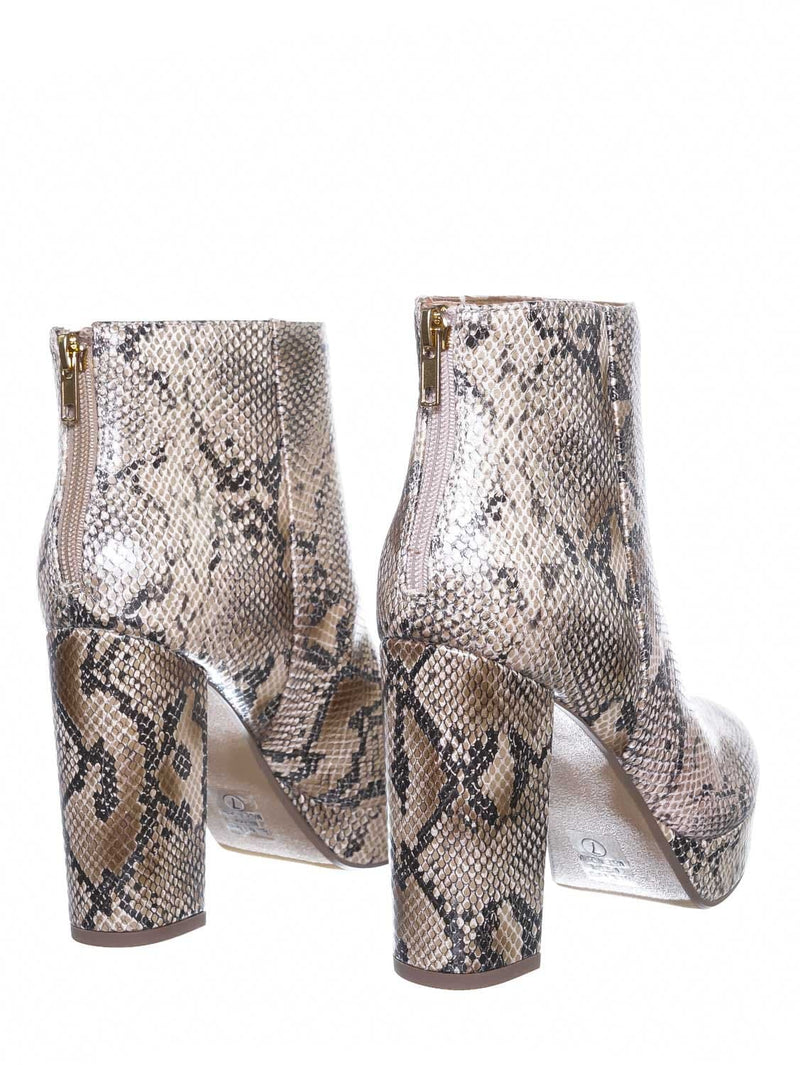 Natural Python / Meeting Chunky Block Heel Platform Dress Bootie - Women Round Toe Dress Shoe