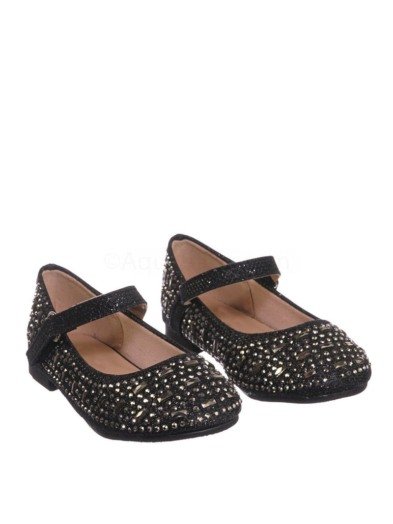 Black Pu / Mika41ka Baby Toddler Ballet Rhinestone Flats - Kids Bling Crystal Glitter Shoes