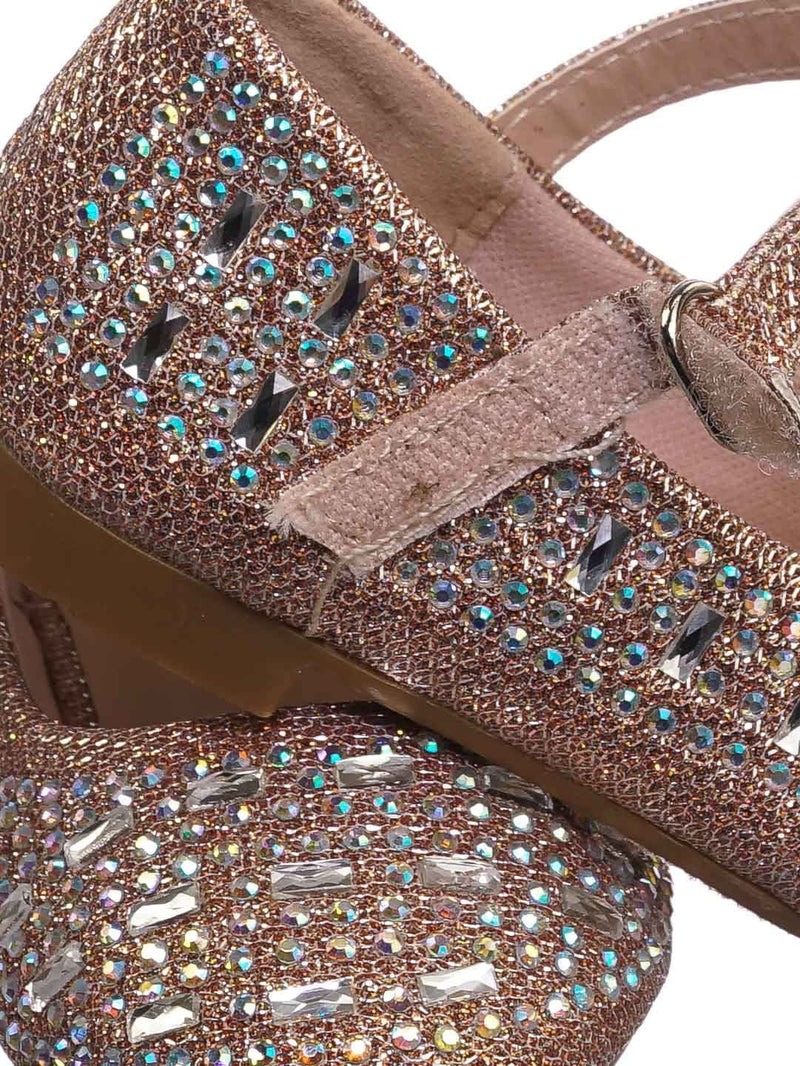 Rose Gold / Mika41ka Baby Toddler Ballet Rhinestone Flats - Kids Bling Crystal Glitter Shoes