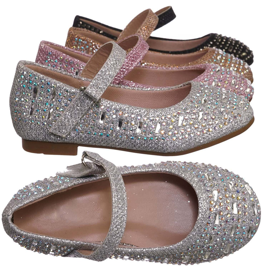 Silver Pu / Mika41ka Baby Toddler Ballet Rhinestone Flats - Kids Bling Crystal Glitter Shoes