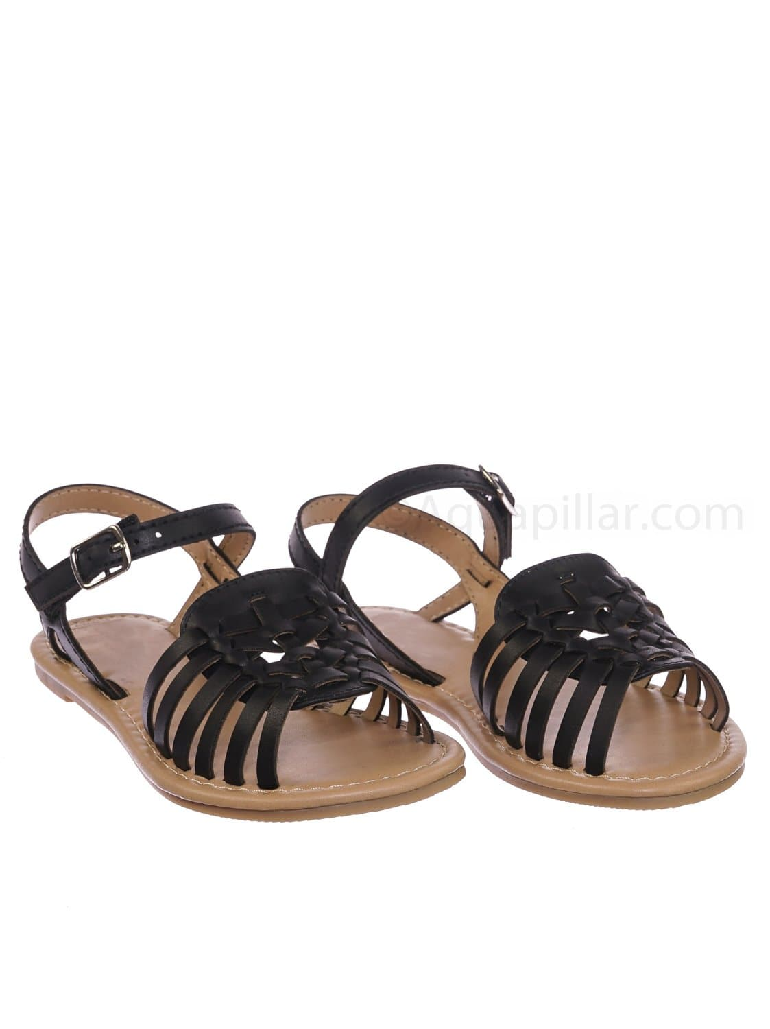 Milene2 Black Kids Woven Fisherman Huarache Flat sandal - Girl Children Open Toe Shoes