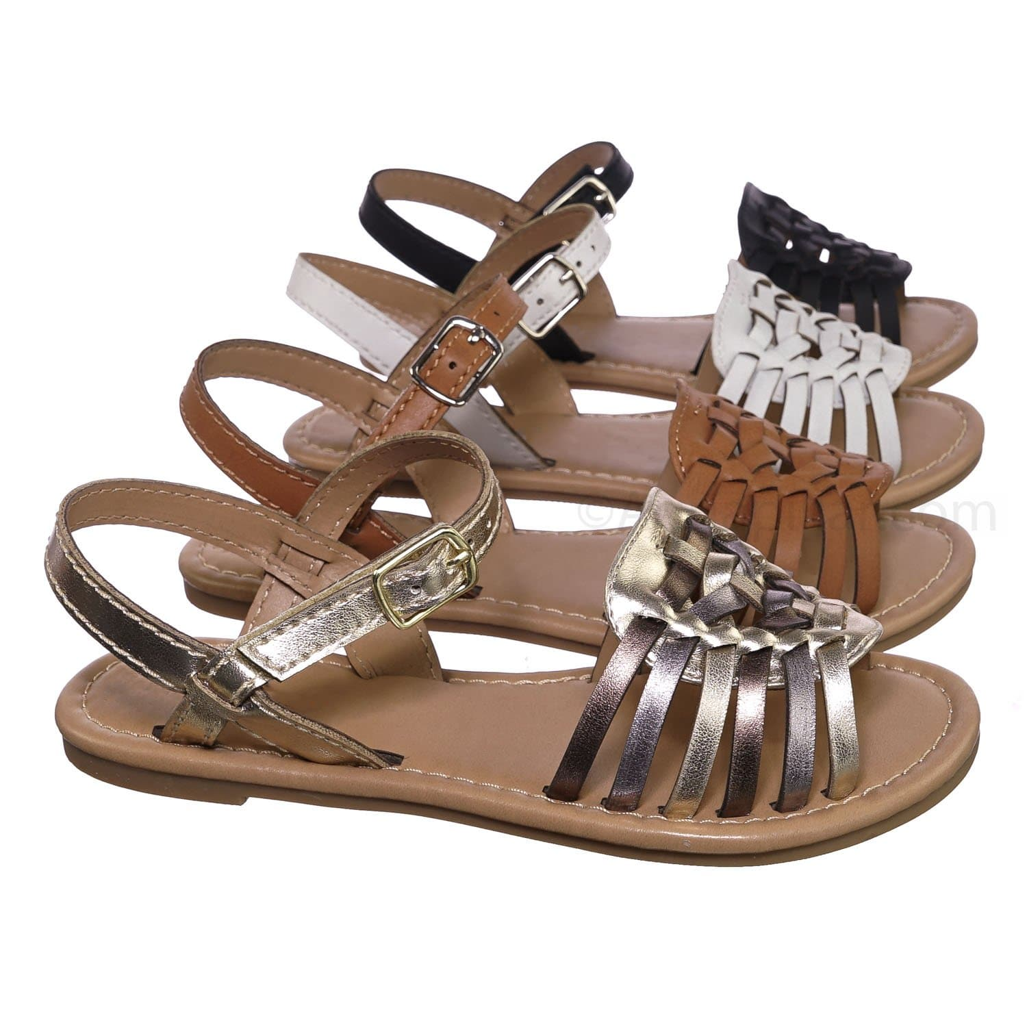 Milene2 Light Gold Multi Kids Woven Fisherman Huarache Flat sandal - Girl Children Open Toe Shoes