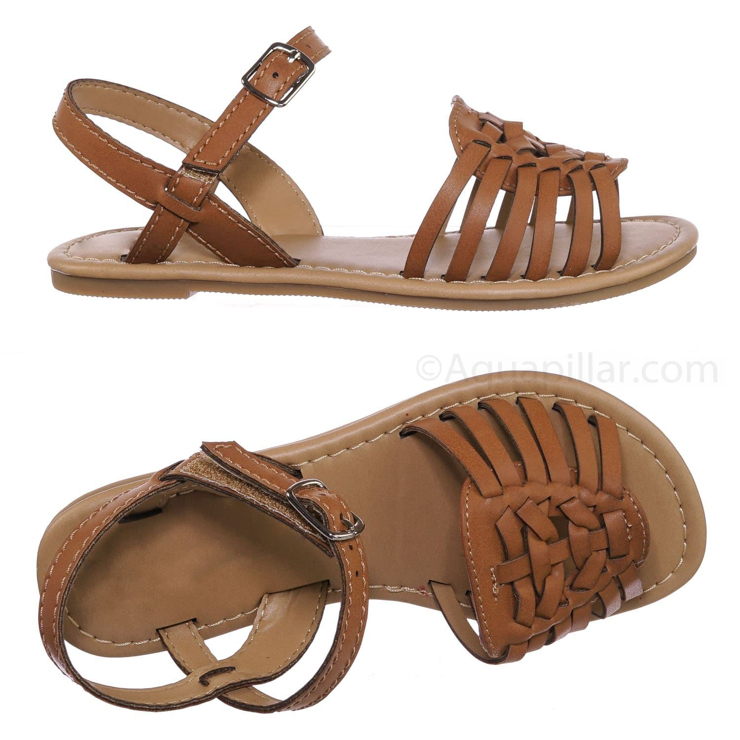 Milene2 Tan Brown Kids Woven Fisherman Huarache Flat sandal - Girl Children Open Toe Shoes
