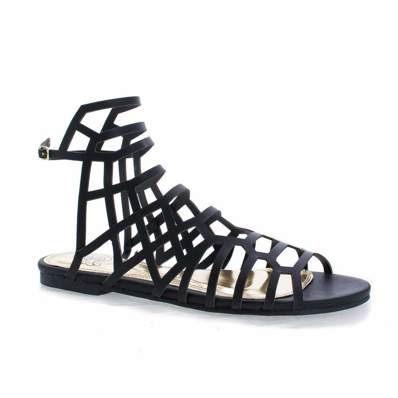 CiciML By Miss L Open Toe Honeycomb Caged Ankle Flat Sandals