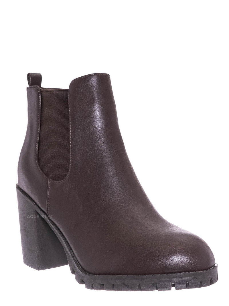 Brown / Michi72 Block Heel Chelsea Bootie - Threaded Lug Sole Ankle Dress Boots