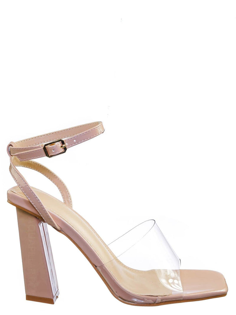 Nude Beige / Maze01 Lucite Transparent Open Square Toe Sandal - Clear Chucky Triangle Heel