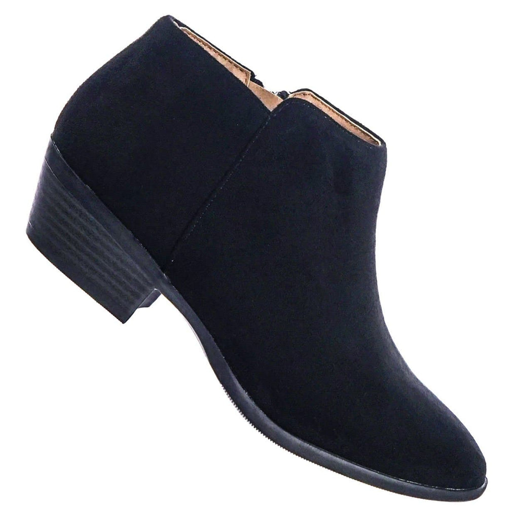 Black On Black / Mug BlkBlkIsu Western Low Chunky Block Heel Bootie - Women Ankle Boots w Stack Heel