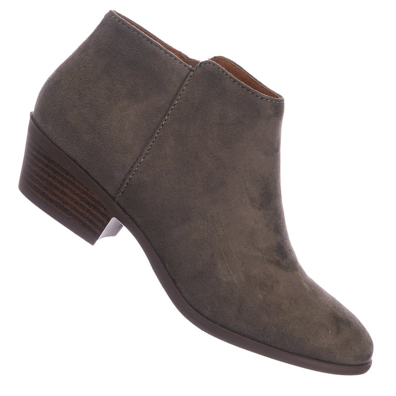 Charcoal Gray / Mug ChaImsu Western Low Chunky Block Heel Bootie - Women Ankle Boots w Stack Heel