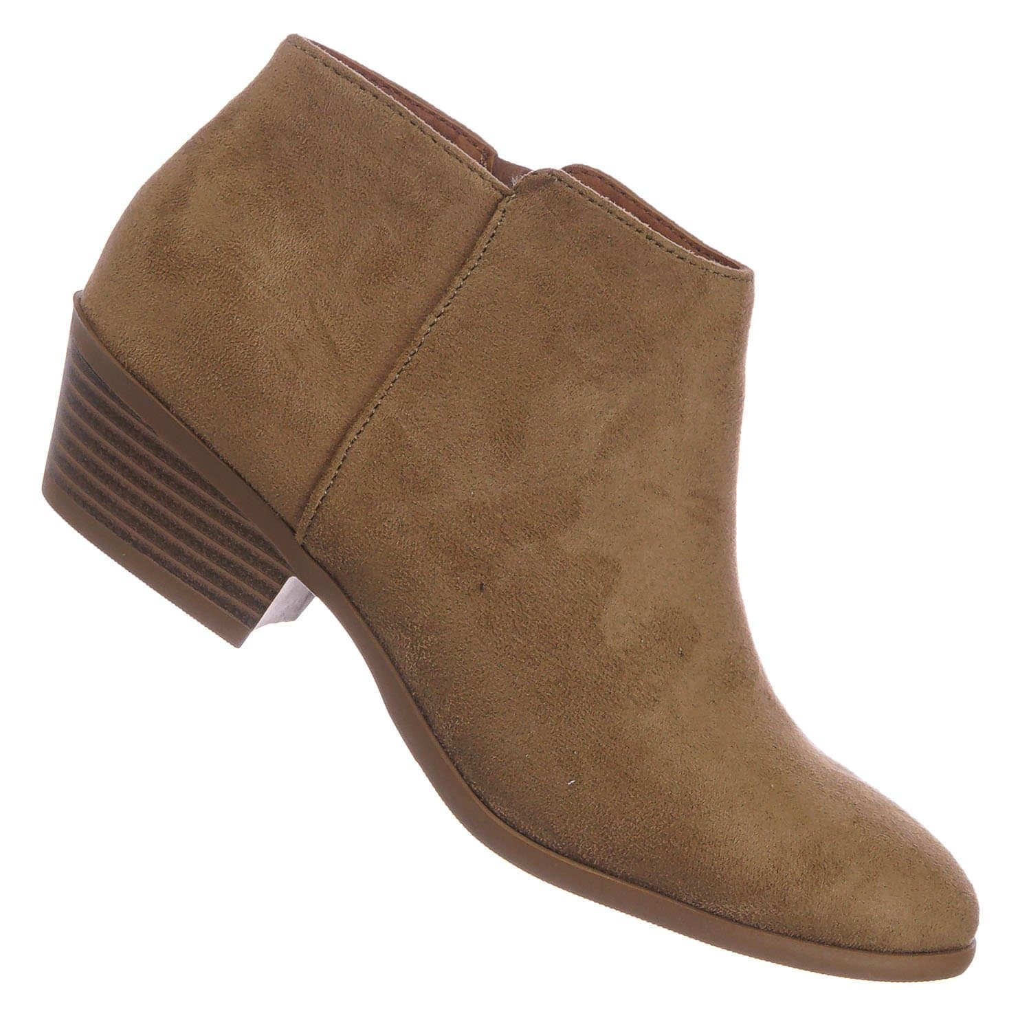 Mug Natural Western Low Chunky Block Heel Bootie - Women Ankle Boots w Stack Heel