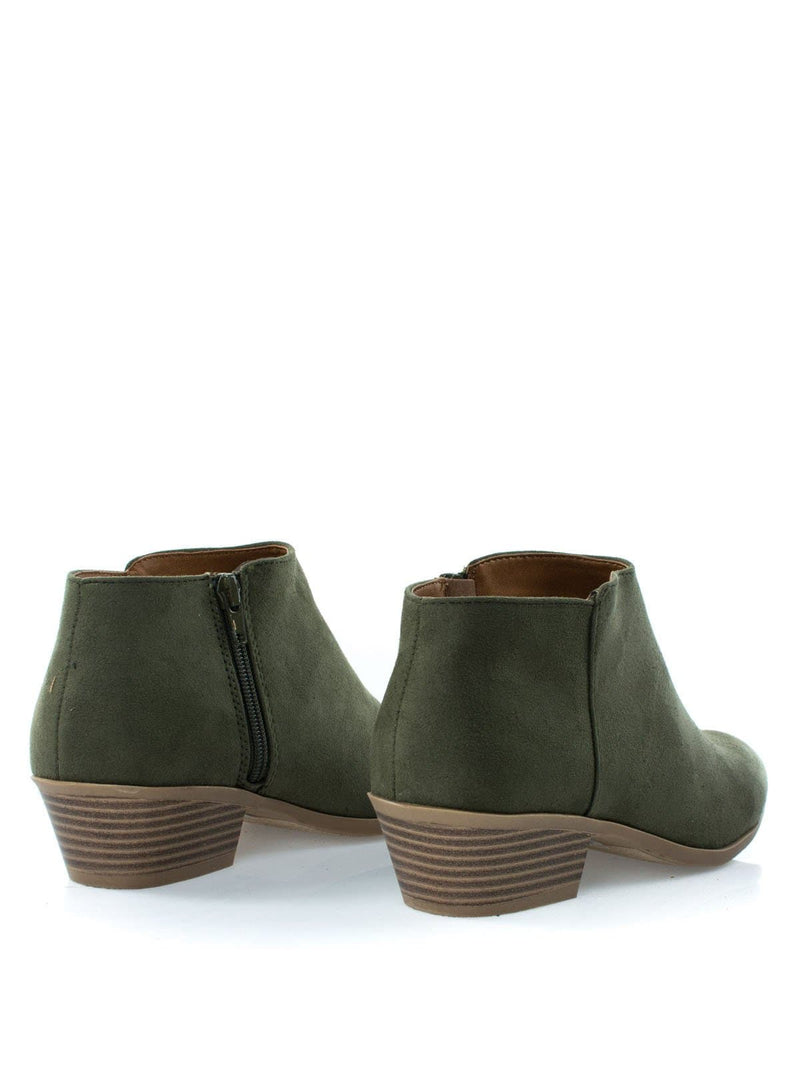 GreenSuede / Mug LOliveSuede Western Low Chunky Block Heel Bootie - Women Ankle Boots w Stack Heel