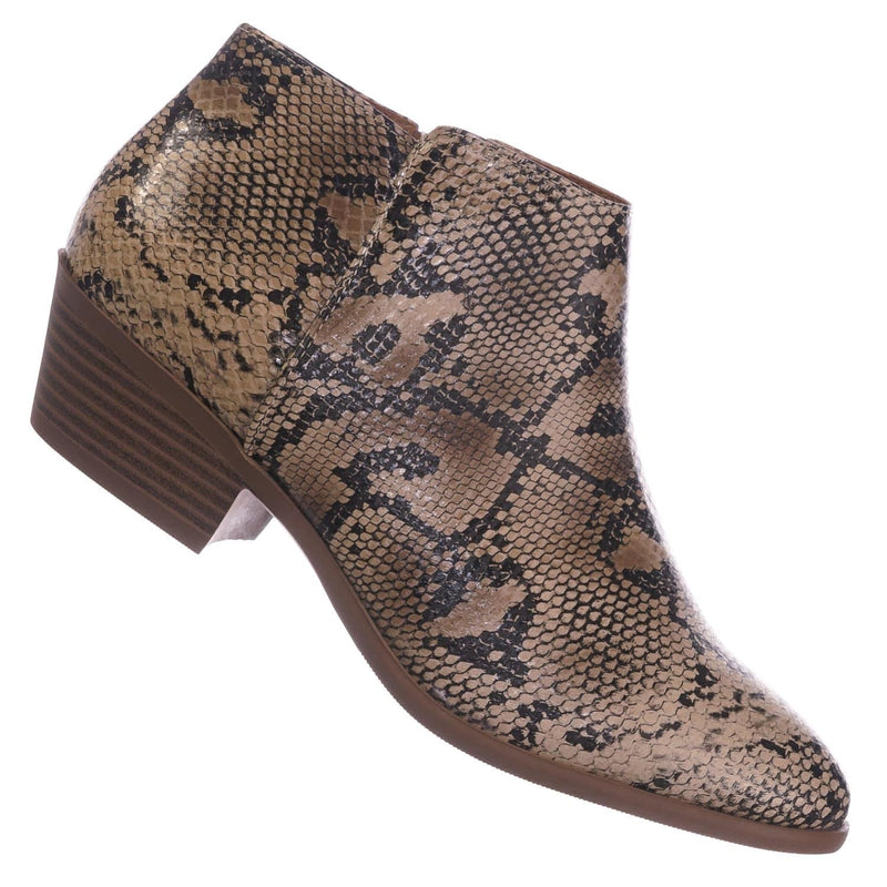 Natural Python / Mug NatPython Western Low Chunky Block Heel Bootie - Women Ankle Boots w Stack Heel