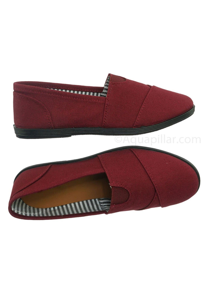Burgundy Red / Murphy23 Classic Alpargata Canvas Sneaker - Unisex Foam Padded Slip On Flats