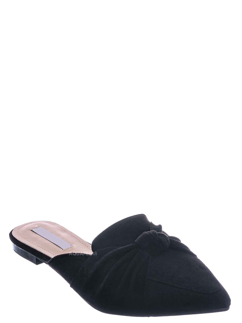 Black / Mules11 Knotted Pointed Toe Slides - Women's Slide In Close Toe Slipper