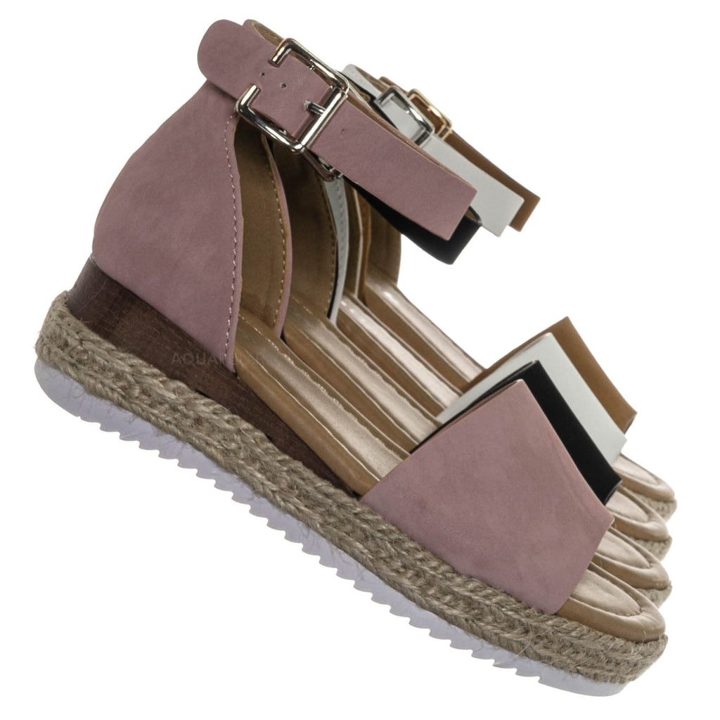 Dusty Pink / Sensational6k Kids Jute Braid Espadrille Flatform - Girls Ankle Strap Sandal