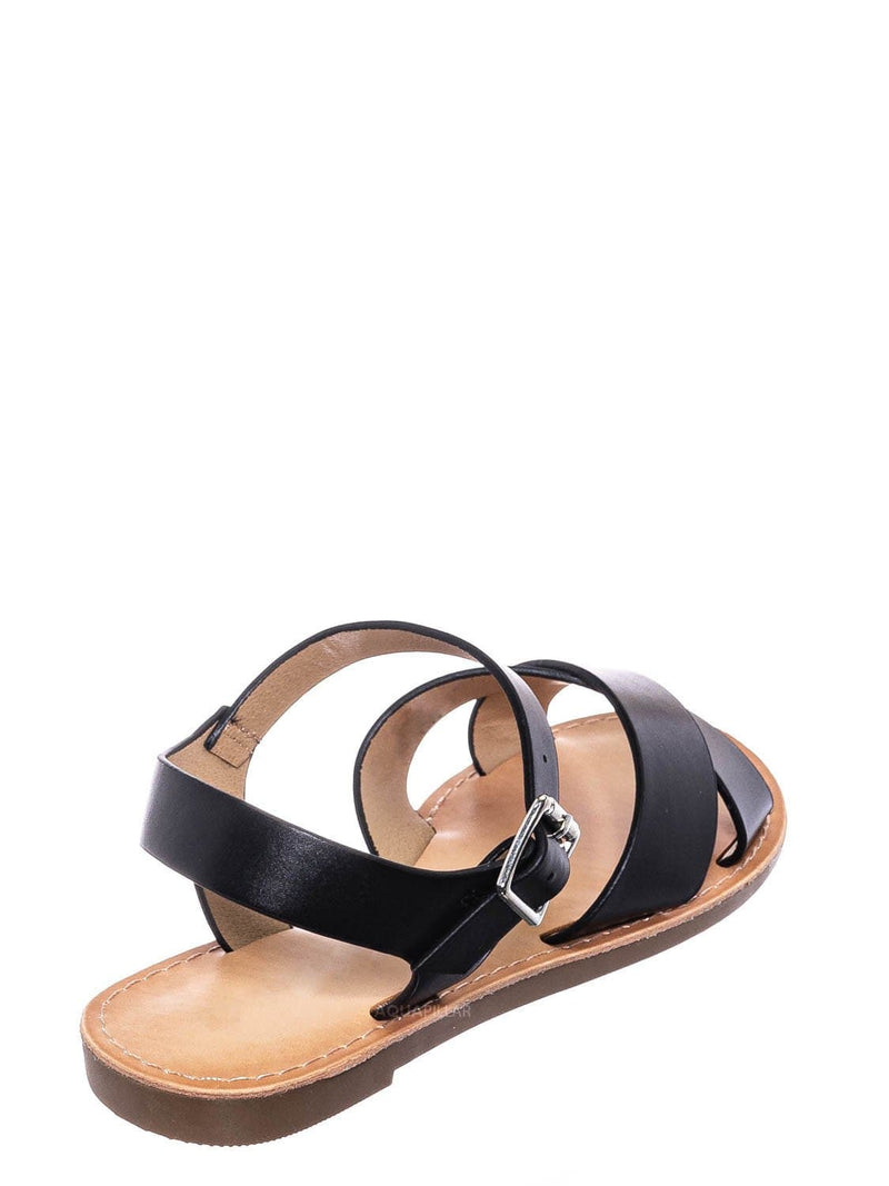 Black / Tire2 Children Girl Open Toe Flat Sandal w Ankle Strap