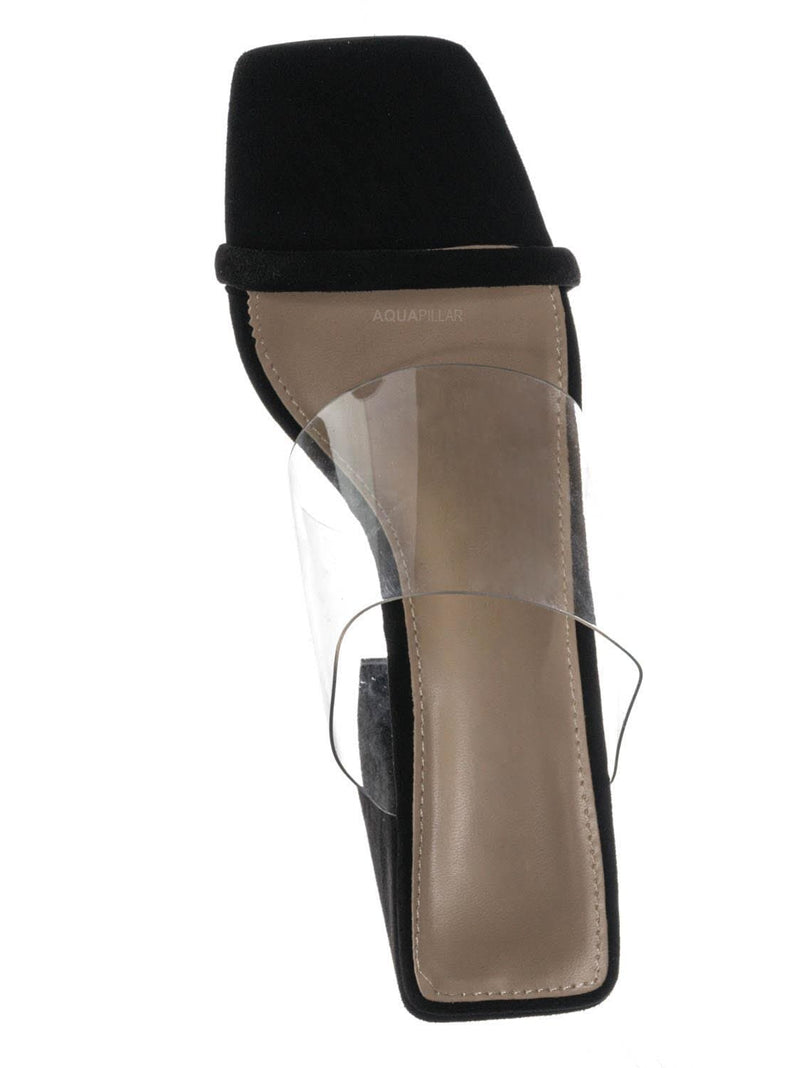 Black Vsuede / Loria02 Lucite Clear Square Toe Mules - Transparent Chunky Block Heel Sandal