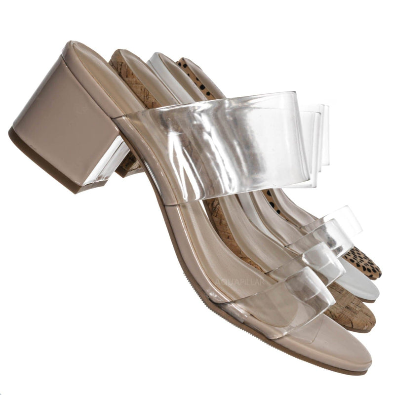 Soap Transparent Block Heel Mule - 90s Retro Lucite Clear Twin Strap Slides