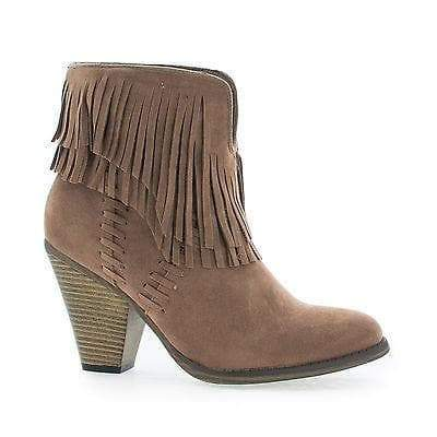 Dallas03 By Nature Breeze, Western Slip On Stacked Block Heel Fringe Ankle Boots