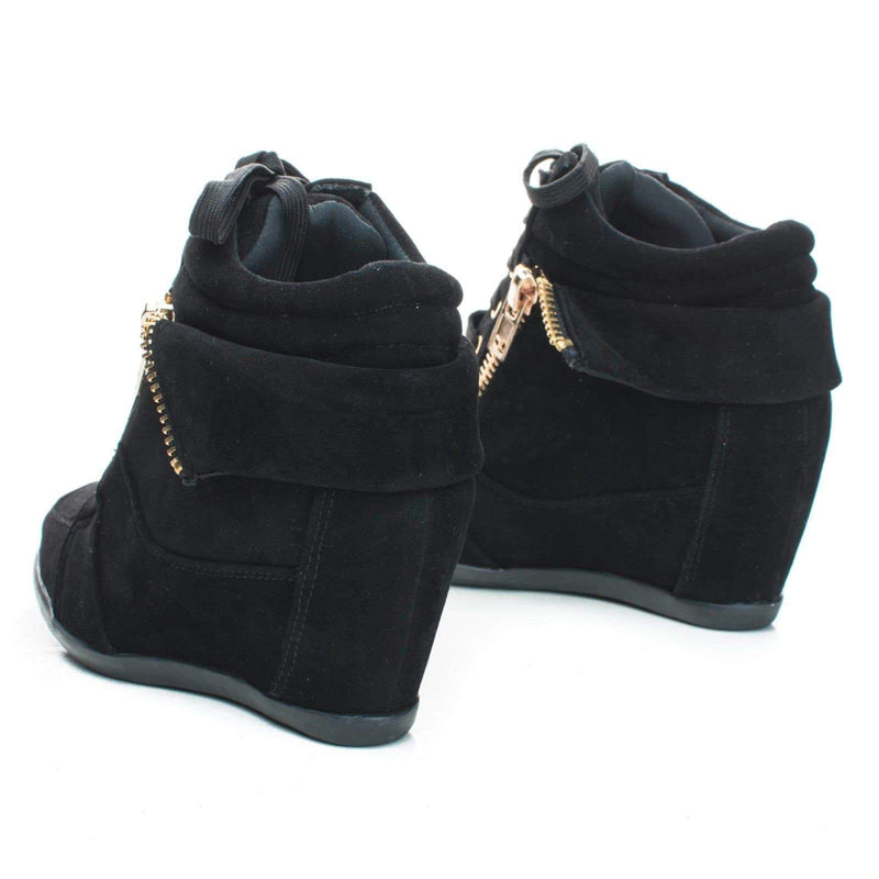 Gladys24 Black By Nature Breeze, Round Toe Fold Over Collar Zipper Lace Up Ankle Wedge Booties
