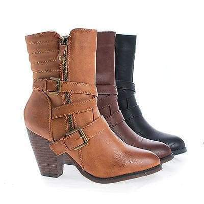 Outcast02 By Nature Breeze, Western Cowgirl Stacked Faux Wooden Block Heel Ankle Boots