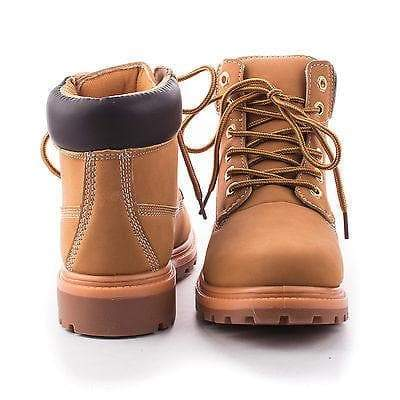 Terrain Wheat Pu By Nature Breeze, Round Toe Lug sole Lace Up Ankle Cuff Women's Boots