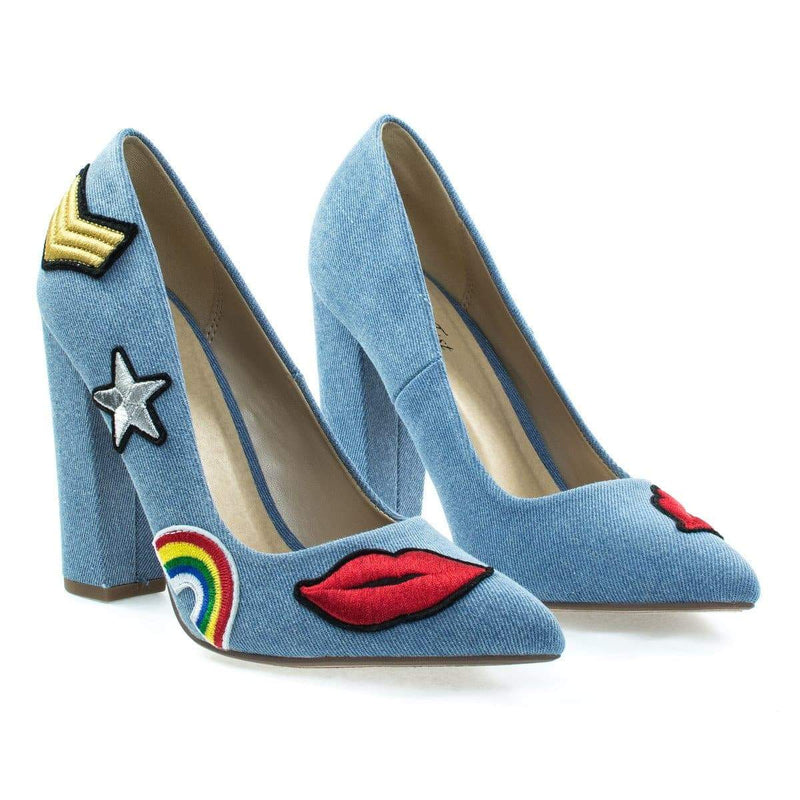 OgdenP By Not Just A Pump, Embroidered Retro Graphic Lips, Rainbow, Star Patch Block Heel Pump