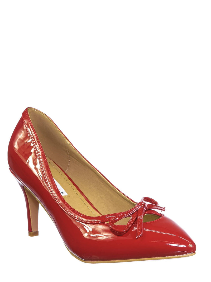 Red Patent / Sanzi7 Classic Stiletto High Heel Dress Pump - Womens Cut Out Pointed Toe Shoe