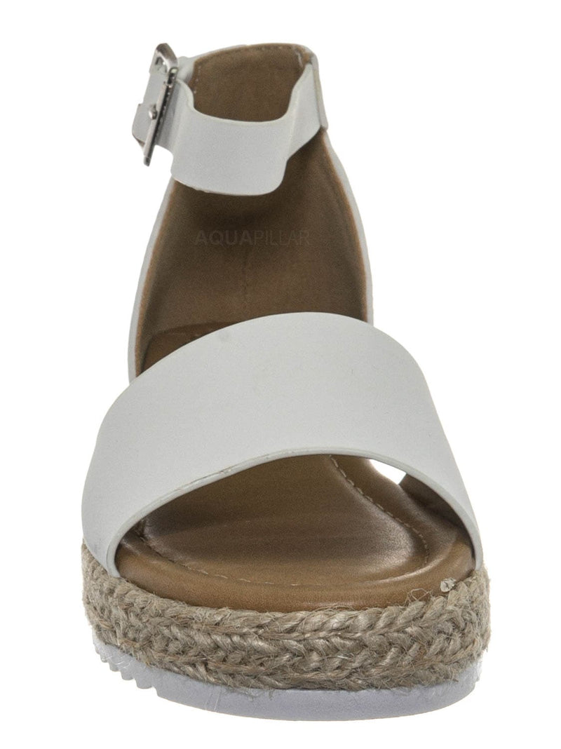 White Pu / Sensational6k Kids Jute Braid Espadrille Flatform - Girls Ankle Strap Sandal