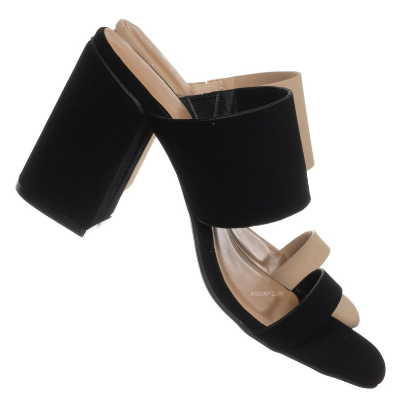 Black Nubuck / Milestone07 Block Heel Slide In Sandal- Women Wide & Thin Double Strap Mule