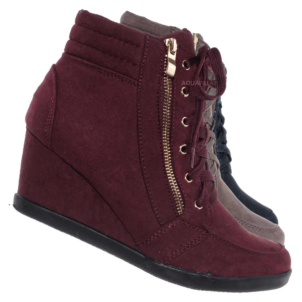 Burgundy Red / Peggy56 90's Zip Hidden Wedge Sneaker - Athleisure Lace Up Casual Heel