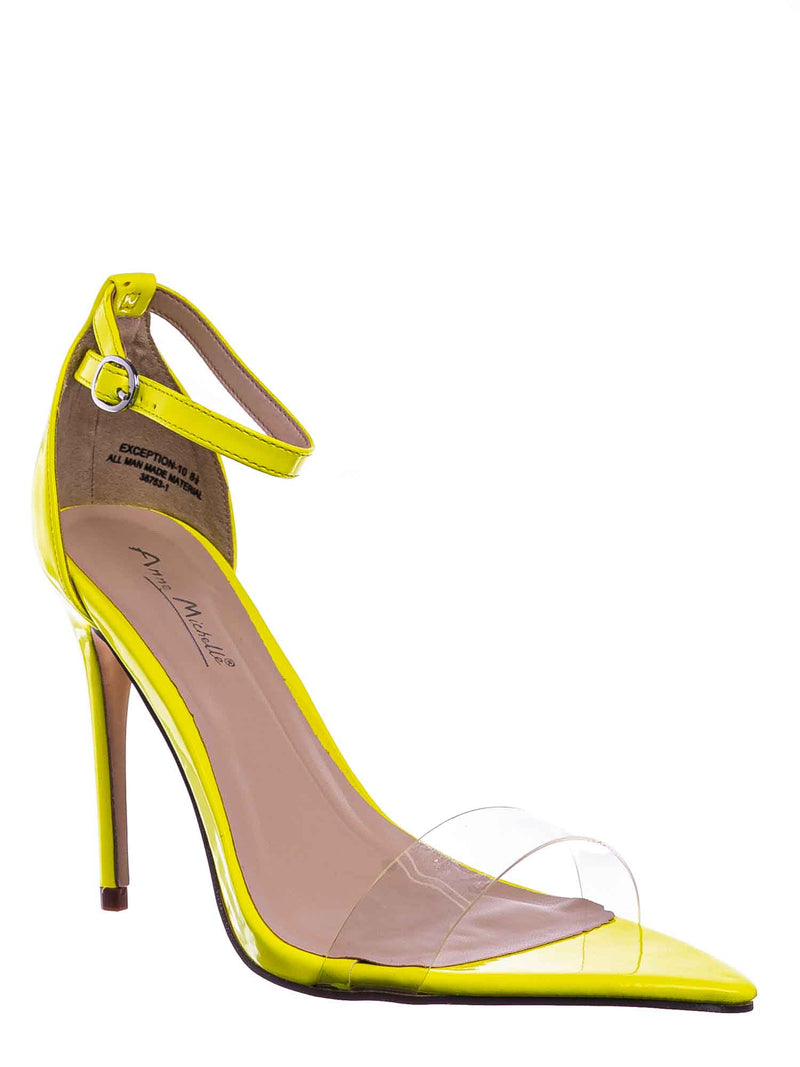 Neon Yellow / Exception10 Lucite Neon Stiletto Sandal - Women Clear High Heel Pointed Toe Shoe