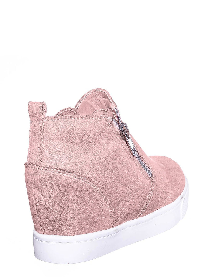 Mauve Pink / Taylor2 Childrens Athleisure Hidden Wedge Sneaker - Girls High Top Loafer Shoes