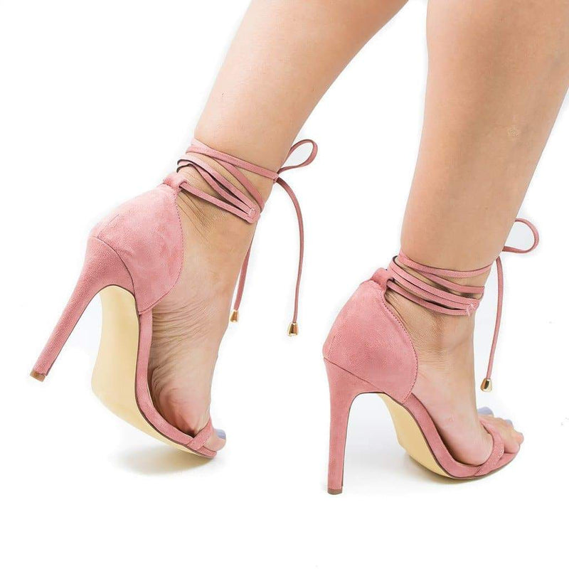 Hilton By Olivia Jaymes, Open Toe Leg Wrap Stiletto High Heel Sandals
