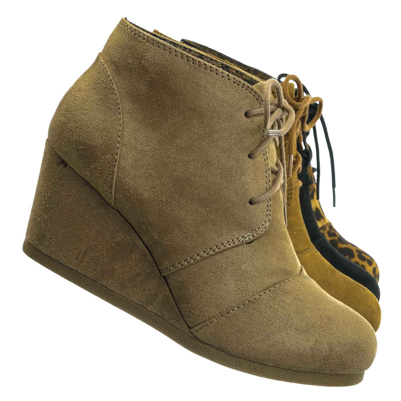 Rex Hidden Wedge Heel Bootie - Women Lace Up Oxford Ankle Boots