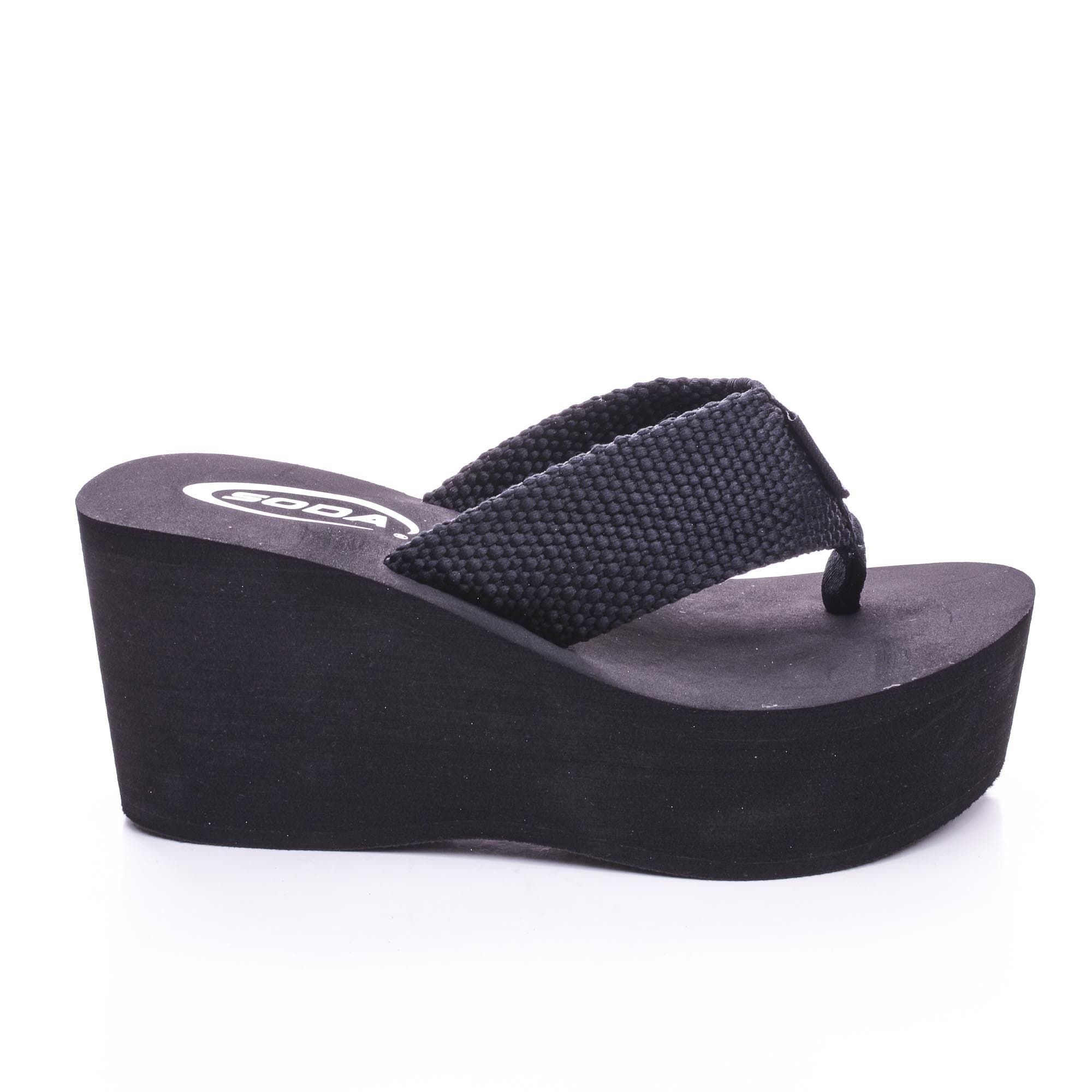 Oxley By Bamboo, Thick T-Thong Slip On Platform High Wedge Sandals